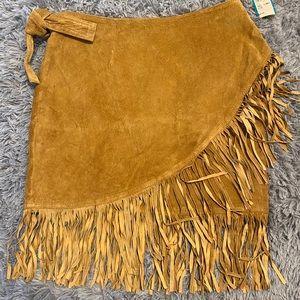 Vintage Leather Fringe Skirt L
